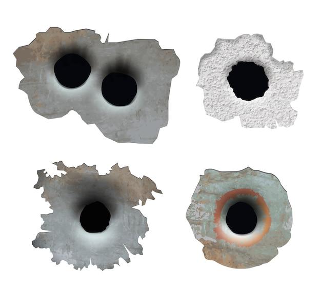 Dziura po kuli. zmiażdżyć uszkodzone pęknięte szkło z pistoletu rozbija kawałki połamane linie pocisków na powierzchni