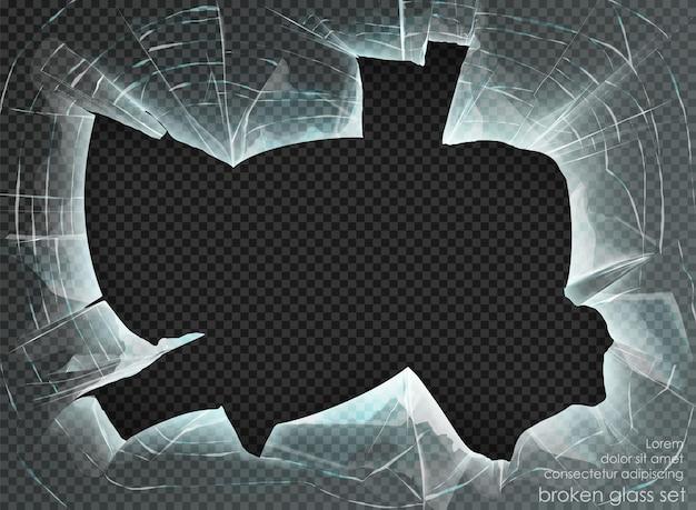 Dziura potłuczone szkło na przezroczystym tle