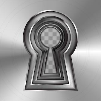 Dziurki od klucza w jasnym błyszczącym metalowym talerzu na przezroczystym tle