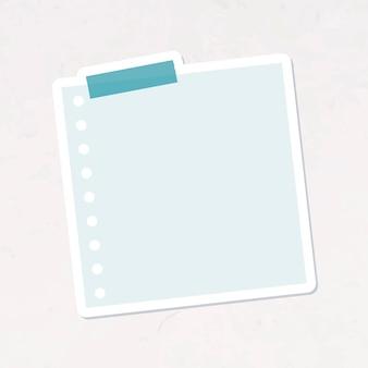 Dziurkowany niebieski papier notatkowy wektor naklejki dziennika