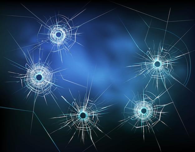 Dziury po kulach w ilustracji szkła