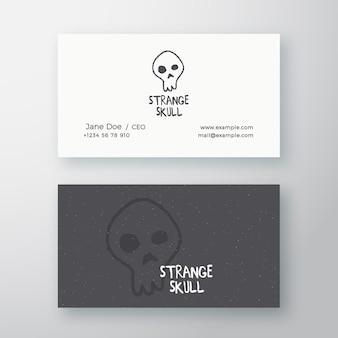 Dziwna czaszka streszczenie znak lub logo i szablon wizytówki.