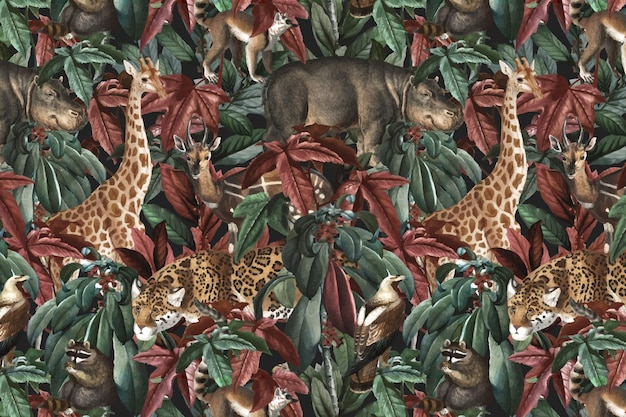Dżungla wzór tła wektor dzikich zwierząt