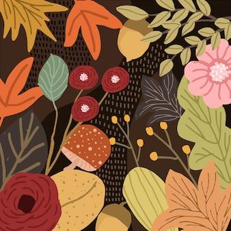 Dżungla z jesienią kwiatowy tło