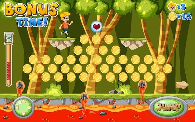Dżungla z szablonem gry platformowej lawy
