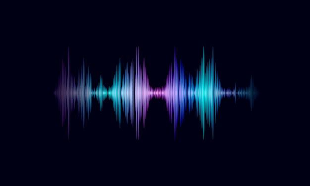 Dźwięk oscylująca fala kolorowa, świecąca muzyka. technologia rozpoznawania głosu asystenta głosu. audio wyrównywacza cyfrowego komputeru pojęcia wektoru ilustracja