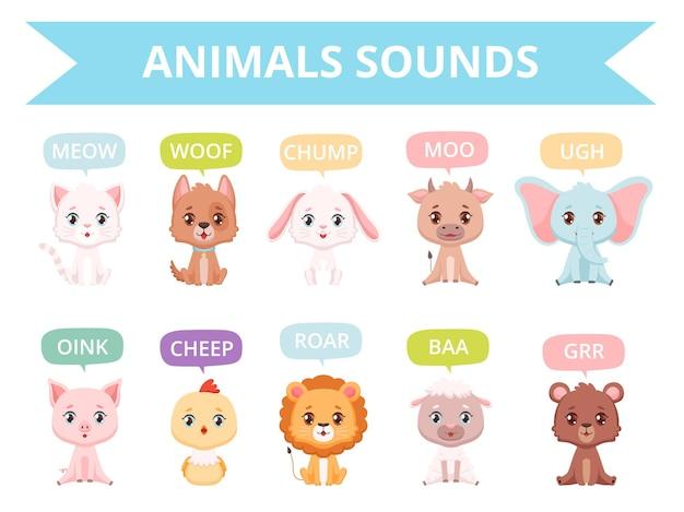 Dźwięki zwierząt. zoo ptaki koty psy zwierzęta gospodarskie komunikacja mówiące słowa wektor znaków. dźwiękowy charakter zwierząt, ilustracja wektorowa zoo