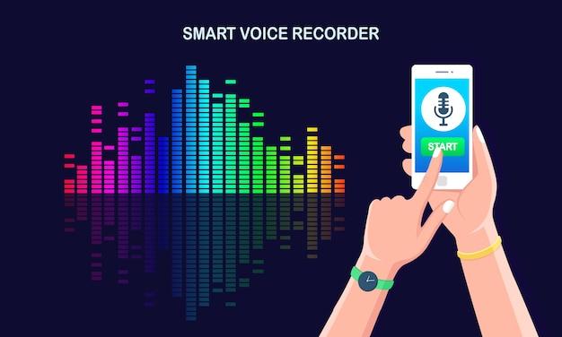 Dźwiękowa fala gradientu dźwięku z korektora. telefon komórkowy z ikoną mikrofonu na ekranie. aplikacja na telefon komórkowy do cyfrowego nagrywania radia głosowego. częstotliwość muzyki w spektrum kolorów.