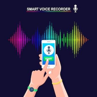 Dźwiękowa fala gradientu dźwięku z korektora. telefon komórkowy z ikoną mikrofonu na ekranie.