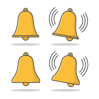 Dzwon. płaskie ikona złoty dzwonek. alarm dzwonkowy lub alert