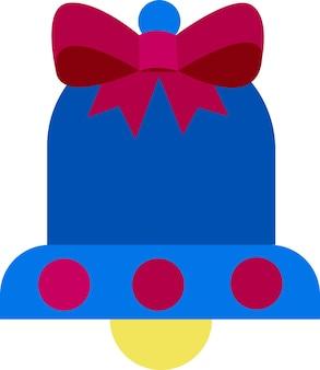 Dzwonek z kokardą płaski element bożonarodzeniowego symbolu boże narodzenie