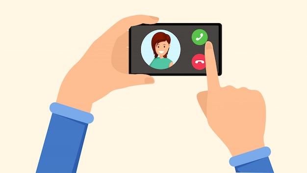 Dzwoniący smartfon, interfejs przychodzącego połączenia