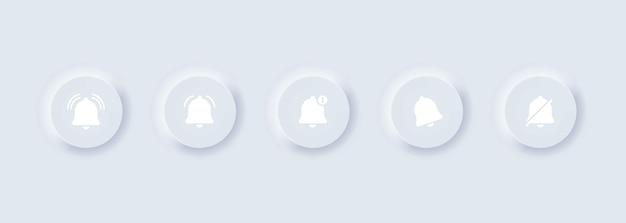 Dzwonki powiadomień dzwonek społecznościowy dzwonek i znak numeru powiadomienia. neumorficzny
