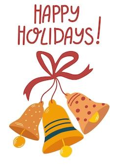 Dzwonki świąteczne. ręcznie rysować napis wesołych świąt. ikona jingle bells i vintage elementy rysunkowe na projekt plakatu, banera, pocztówki na nowy rok i wesołych świąt. ilustracja kreskówka wektor.