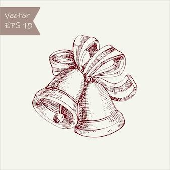 Dzwony świąteczne. ilustracja rysunek ręka. vintage grawerowany styl.