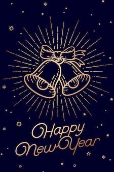 Dzwony świąteczne. szczęśliwego nowego roku. kartkę z życzeniami z tekstem szczęśliwego nowego roku.