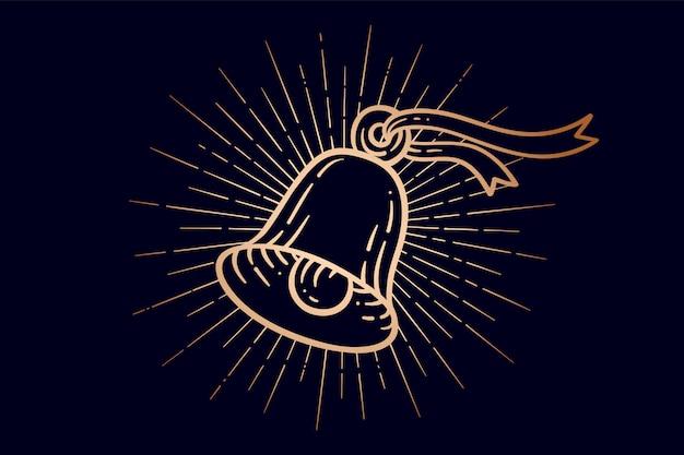 Dzwony świąteczne. złoty znak dzwonią dzwony z promieniami świetlnymi