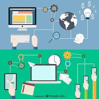 E-biznes koncepcyjne wektor