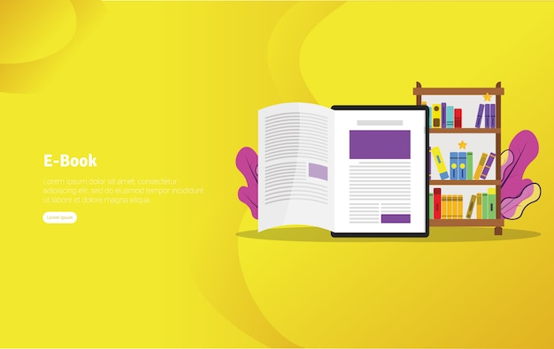 E-book concept illustration banner