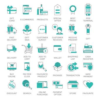 E commerce i zakupy ikona kolekcja