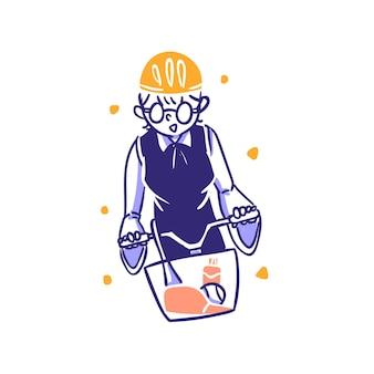 E-commerce kategoria sportowa ludzie jeżdżą na rowerze koncepcja ilustracja w zarysie ręcznie rysowany styl projektu