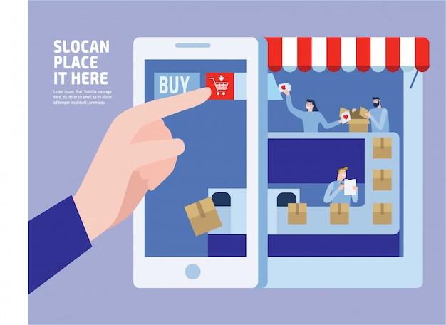 E-commerce. łatwe kupowanie. ilustracja małych ludzi.
