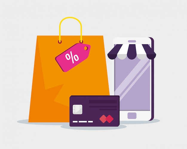 E-commerce na smartfony z kartą kredytową i torbą