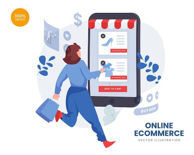 E-commerce online z kobietami i mężczyznami kupującymi towary przez telefon