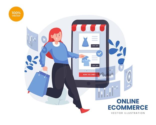 E-commerce z kobietą kupującą towary przez telefon online