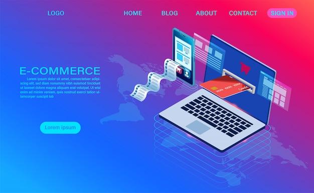 E-commerce zakupy online za pomocą komputera i telefonu komórkowego. 3d izometryczny szablon