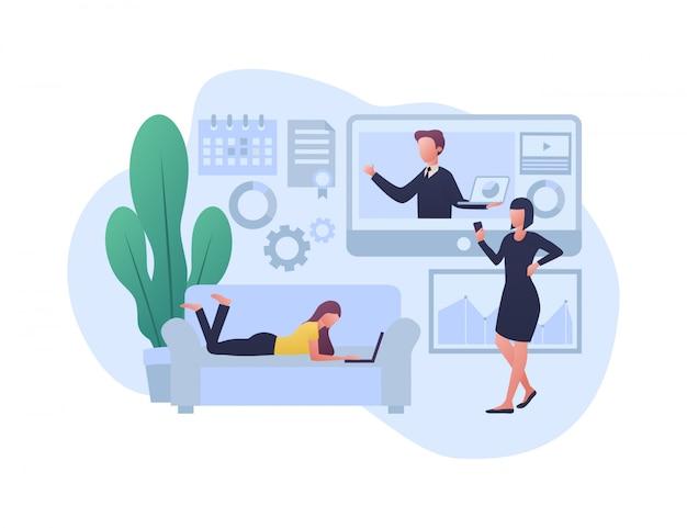 E - ilustracja koncepcja uczenia się
