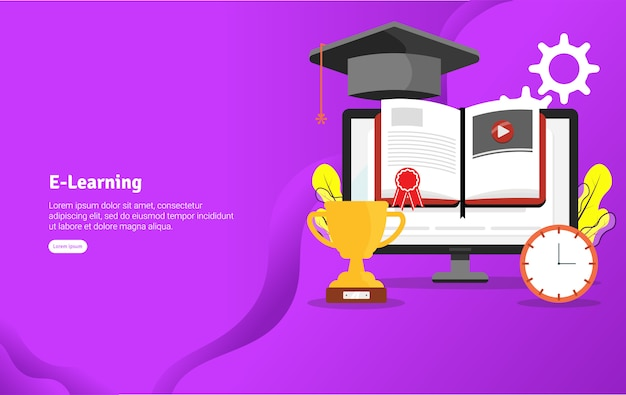 E-learning concept ilustracja banner