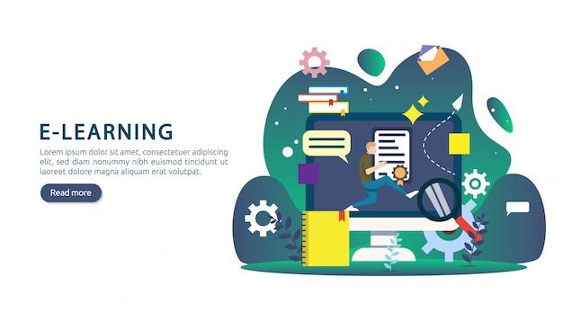 E-learning, e-book lub koncepcja edukacji online dla banerów