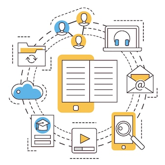 E-learning. edukacja online. cienka linia płaskich ikon.