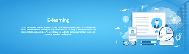 E-learning edukacja online koncepcja web banner poziomy