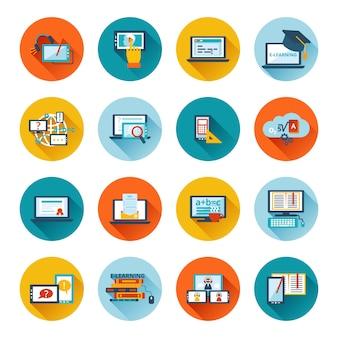 E-learning ikona płaska