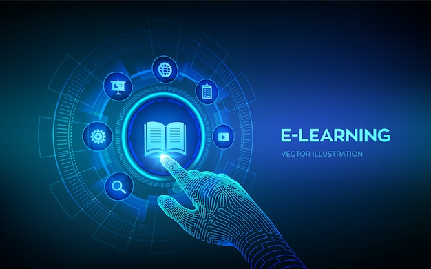 E-learning. innowacyjna edukacja online i technologia internetowa. webinarium, nauczanie, szkolenia online. rozwój umiejętności. robotyczna ręka dotykająca interfejs cyfrowy. ilustracja.