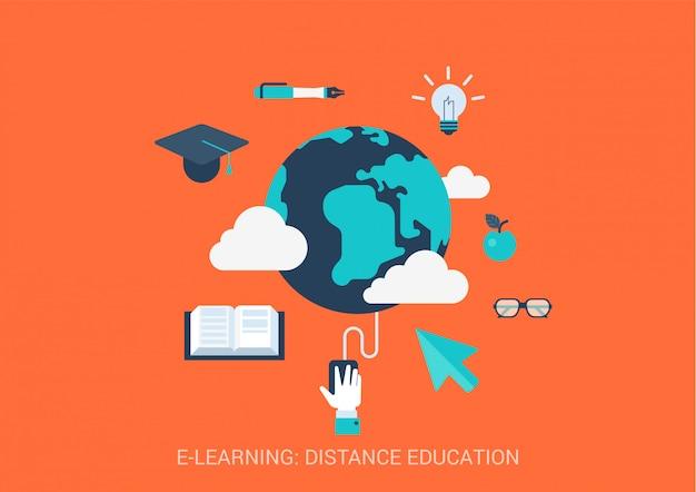 E-learning kształcenie na odległość pojęcia mieszkania stylu ilustracja. globalne badanie online.