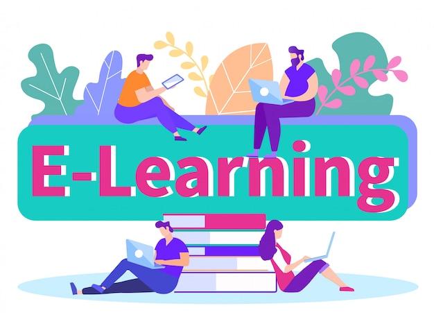E-learning. ludzie z gadżetem w ręku. .