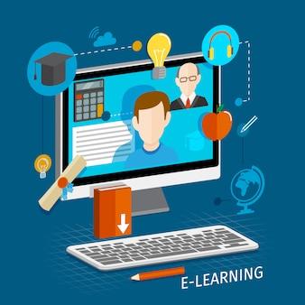 E-learning online płaski ilustracja