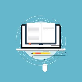 E-learning płaski projekt ilustracji