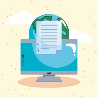 E-learning z komputerem stacjonarnym i planetą ziemia