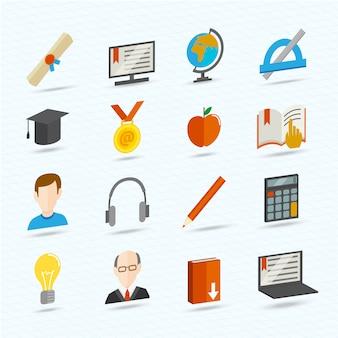 E-learningowe płaskie ikony