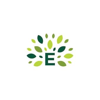 E list drzewo liść natura znak zielony logo wektor ikona ilustracja
