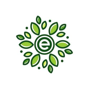 E list liść streszczenie kwiat logo projekt ikona ilustracja