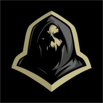 E logo czaszki sportowej w szarym kapturze