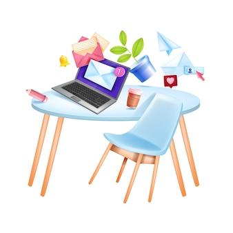 E-mail cyfrowy biznes marketing ilustracja z mediów społecznościowych, miejsce pracy w biurze, stół, laptop