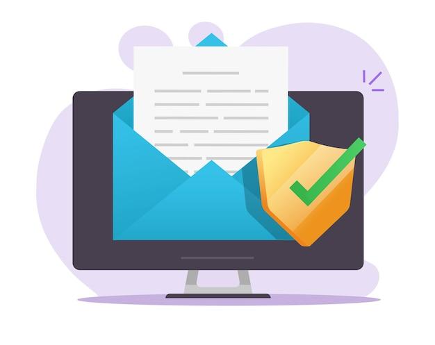 E-mail cyfrowy dokument bezpieczna tarcza online na ikonie komputera stacjonarnego na ochronie pliku tekstowego listu poczty elektronicznej