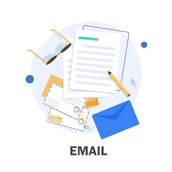 E-mail i wiadomości, kampania marketingowa e-mail, płaska konstrukcja