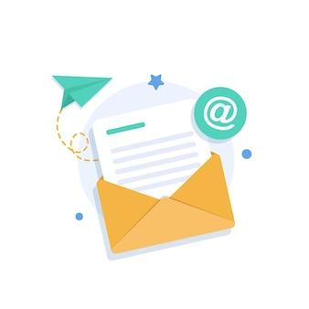 E-mail i wiadomoście-mailowa kampania marketingowapłaska konstrukcja ikony ilustracji wektorowych